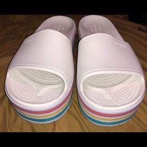 Crocs platform slides/sandals
